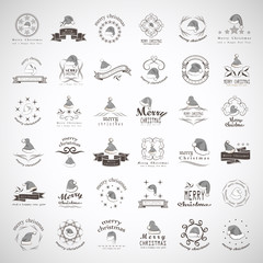 Santa Claus Hats - Isolated On Gray Background
