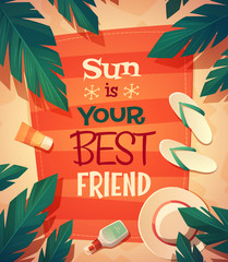 Summer beach card \ poster design. Vector illustration.