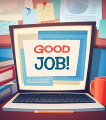 Laptop card \ poster design. Vector illustration.