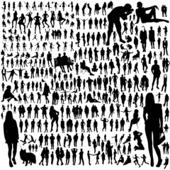 Set of people silhouettes