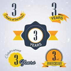 Retro vector stamp celebrating, 3 years of service,Anniversary