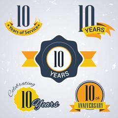 Retro vector stamp celebrating, 10 years of service,Anniversary