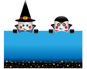 Halloween postcard with funny dracula and witch