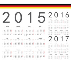 Set of German 2015, 2016, 2017 year vector calendars