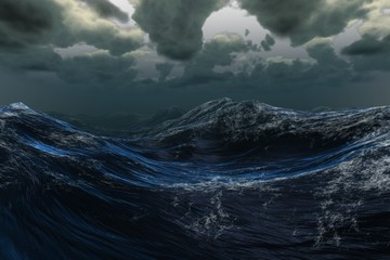 Stormy sea under dark sky Wall mural