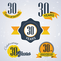 Retro vector stamp celebrating, 30 years of service,Anniversary