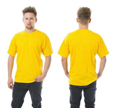 Man posing with blank yellow shirt