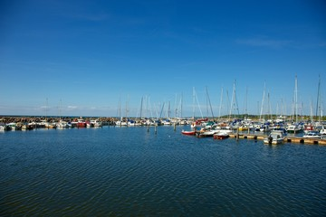 Sailing boats in marina, Bornholm