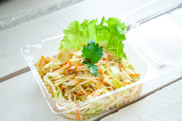 vegetables salad with cabbage and carrot