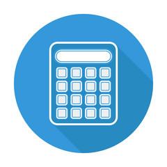 Single flat calculator icon with long shadow.
