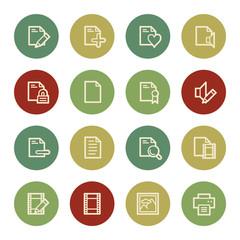 Document web icon set 1, vintage color