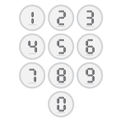 Vector of flat icon, digital number set on isolated background