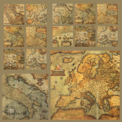 antique maps collage