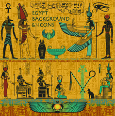 Set of Ancient Egyptian Deities, with Gold Egyptian Background
