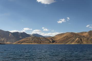 Lake surrounded majestic Himalaya mountains