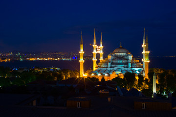 Blue Mosque at night in Istanbul, Turkey, Sultanahmet district