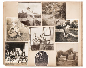 Vintage photo album page. Antique family and animals pictures