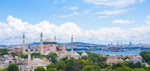 Incredible beautiful view of Hagia Sophia from hotel terrace
