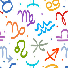 Seamless pattern with zodiac signs for your design