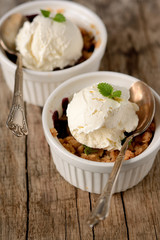 Closeup of two berry cobblers