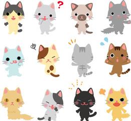 猫のキャラクターのポーズ集
