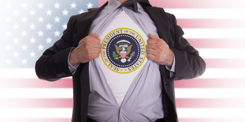 Businessman with presidential seal t-shirt