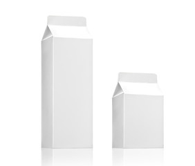 Milk, juice or beverage box carton pack. White paper package