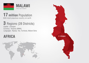 Wall Mural - Malawi world map with a pixel diamond texture.