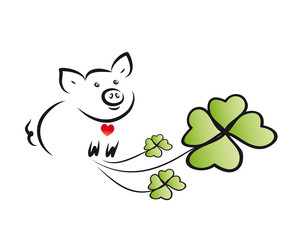 Neues Jahr, Neujahr, Silvester - Glücksschwein mit Kleeblättern