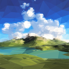 low poly landscape. Mountains, clouds and blue sky.