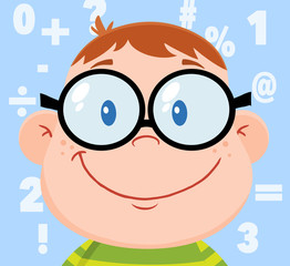 Smiling Geek Boy Head With Background And Numbers