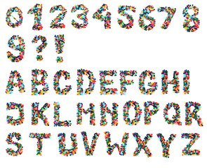 alphabet from plastic caps