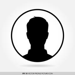 Male avatar profile picture in circle - vector icon