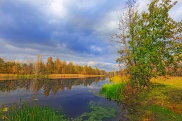 Autumn scene on river