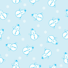 seamless background of the snowman and snowflake vector