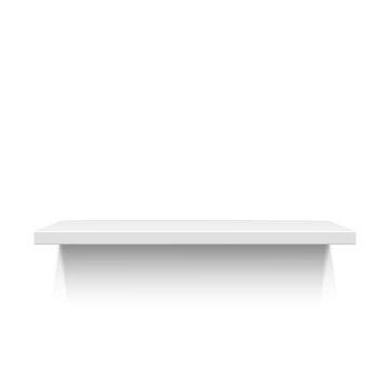 White realistic shelf isolated on white background