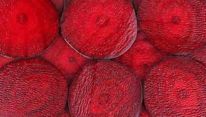Closeup of sliced ripe beet.