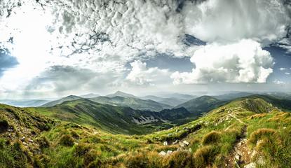 Summer panorama of Carpathian Mountains.Panorama.