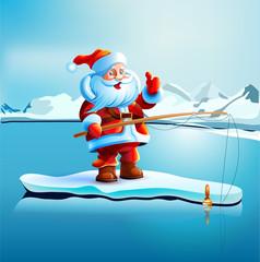 Santa Claus shows thumbs up.