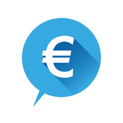 Euro flat icon blue. Vector illustration.