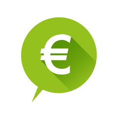 Euro flat icon green. Vector illustration.