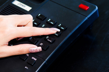Finger press the phone