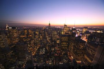 [New York]ニューヨーク・トワイライトのマンハッタン全景[超広角]