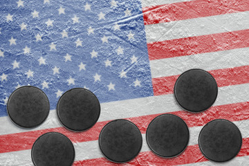 American flag and washers on the ice