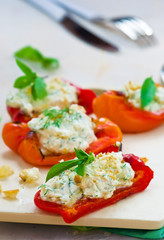 baked pepperwith goat cheese