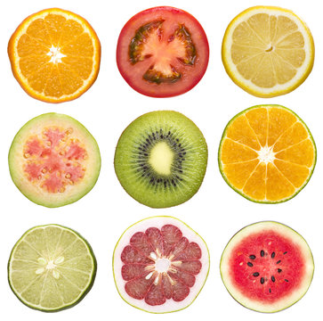 set of sliced fruit