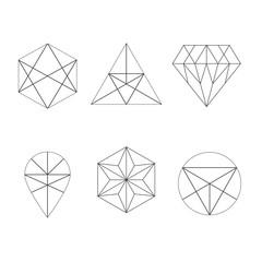 Set of icons, geometric logo