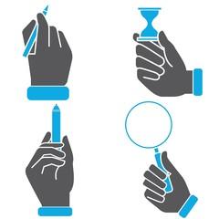 hand holding pen, magnifier glass