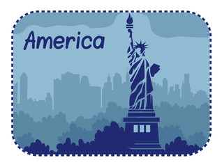 Illustration with statue of Liberty in America