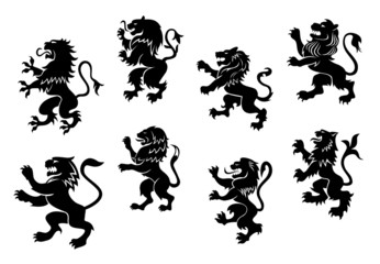 Royal heraldic black lions
